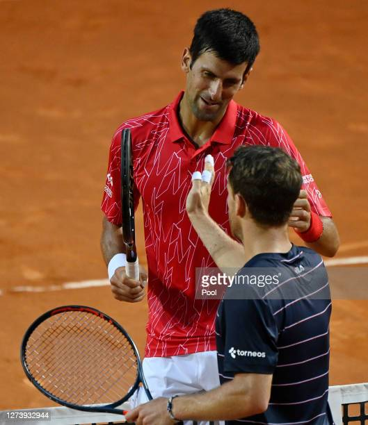 Novak Djokovic of Serbia and Diego Schwartzman of Argentina interact at the net after their men's final match during day eight of the Internazionali...