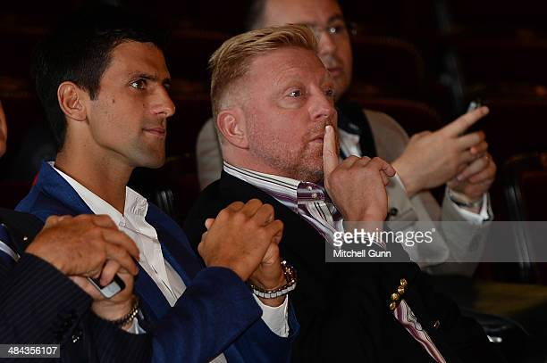 Novak Djokovic of Serbia and his coach Boris Becker at the tournament draw during the preview day of the ATP Monte Carlo Masters at la Salle Garnier...