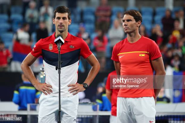 Novak Djokovic of Serbia and Rafael Nadal of Spain after the ATP Cup Final that Serbia won in 3 sets on day 10 of the ATP Cup at Ken Rosewall Arena...