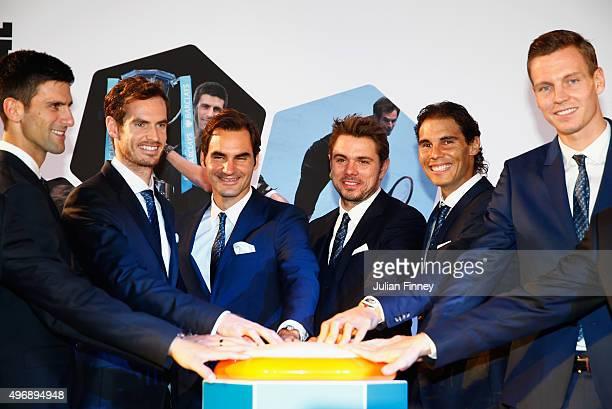 Novak Djokovic of Serbia Andy Murray of Great Britain Roger Federer of Switzerland Stan Wawrinka of Switzerland Rafael Nadal of Spain and Tomas...