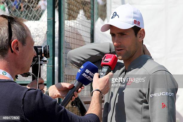 Novak Djokovic of Serbia answers questions during the media roundtable before the MonteCarlo Rolex Masters on April 12 2015 in MonteCarlo Monaco