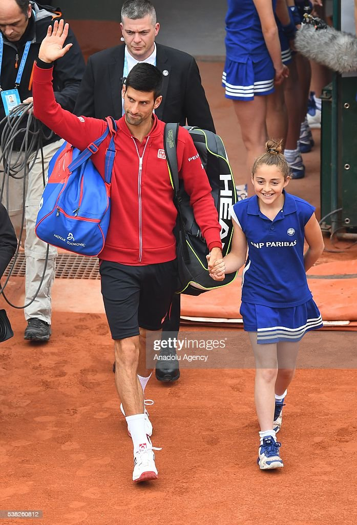 Novak Djokovic of Serbia arrives court for the match against Andy Murray of United Kingdom during the men's single final match at the French Open tennis tournament at Roland Garros Stadium in Paris, France on June 05, 2016.