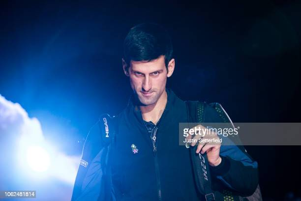 Novak Djokovic of Serbia arrives for his third singles round robin match against Marin Cilic of Croatia during Day Six of the Nitto ATP Finals at The...