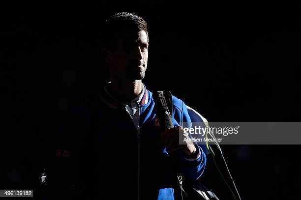 Novak Djokovic of Serbia as he enters the court before his Men's semifinal final match against Stanislas Wawrinka of Switzerland on day six of the...