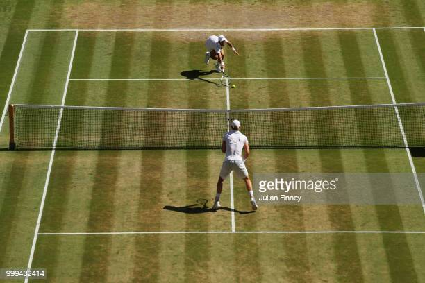 Novak Djokovic of Serbia attempts to return against Kevin Anderson of South Africa during the Men's Singles final on day thirteen of the Wimbledon...