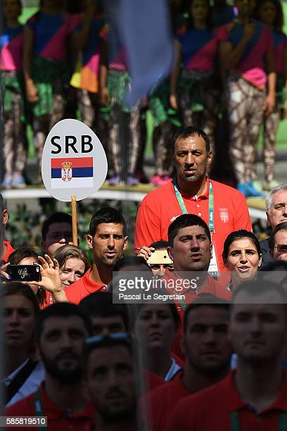 Novak Djokovic of Serbia attends his Team for Rio 2016 Olympic Games welcome ceremony at the athletes village on August 4 2016 in Rio de Janeiro...