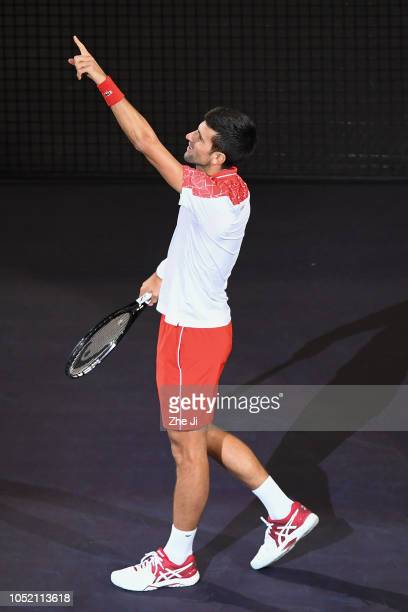 Novak Djokovic of Serbia celebrate after winning his men's singles final match against Borna Coric of Croatia in the Men's singles final match on day...