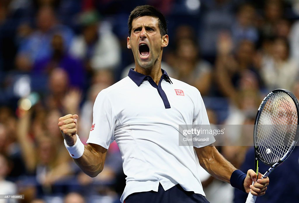 Novak Djokovic of Serbia celebrates a break of serve in the fourth set against Roberto Bautista Agut of Spain in their mens singles fourth round match on Day Seven of the 2015 US Open at the USTA Billie Jean King National Tennis Center on September 6, 2015 in the Flushing neighborhood of the Queens borough of New York City.