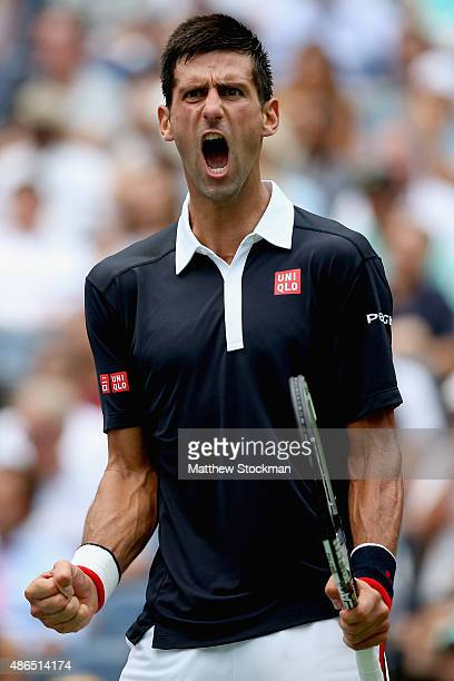 Novak Djokovic of Serbia celebrates a point against Andreas Seppi of Italy during their Men's Singles Third Round match on Day Five of the 2015 US...