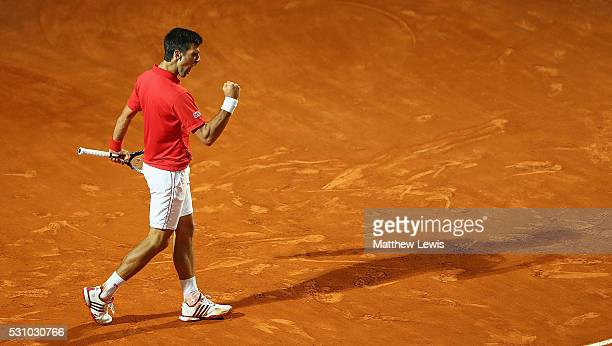 Novak Djokovic of Serbia celebrates a point against Thomaz Bellucci of Barsil during day five of The Internazionali BNL d'Italia 2016 on May 12 2016...