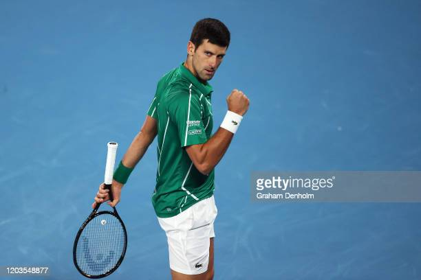 Novak Djokovic of Serbia celebrates a point during his Men's Singles Final match against Dominic Thiem of Austria on day fourteen of the 2020...