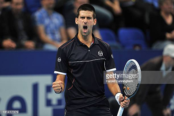 Novak Djokovic of Serbia celebrates a point during his quarter-final match against Marcos Baghdatis of Cyprus during day five of the Swiss Indoors at...