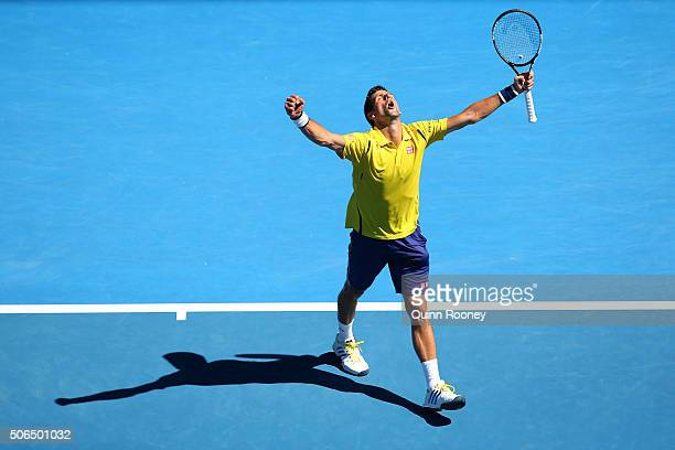 Novak Djokovic of Serbia celebrates a point in his fourth round match against Gilles Simon of France during day seven of the 2016 Australian Open at...