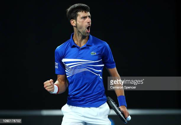 Novak Djokovic of Serbia celebrates a point in his Men's Singles Final match against Rafael Nadal of Spain during day 14 of the 2019 Australian Open...