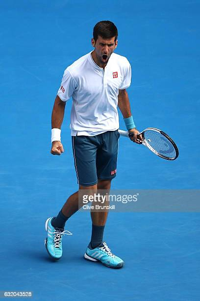 Novak Djokovic of Serbia celebrates a point in his second round match against Denis Istomin of Uzbekistan on day four of the 2017 Australian Open at...