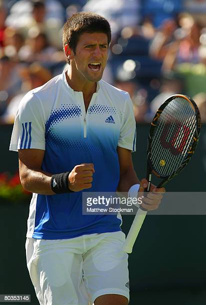 Novak Djokovic of Serbia celebrates a point in the third set against Mardy Fish during the men's final match at the Pacific Life Open at the Indian...