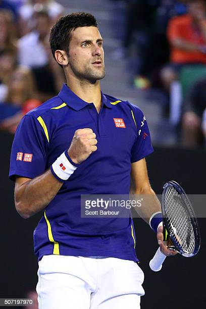 Novak Djokovic of Serbia celebrates a point on in his semi final match against Roger Federer of Switzerland during day 11 of the 2016 Australian Open...