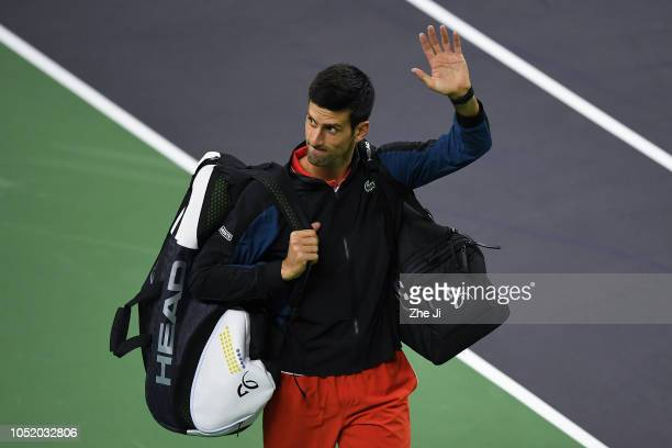 Novak Djokovic of Serbia celebrates after defeating against Alexander Zverev of Germany during their Singles - Semifinals match of the 2018 Rolex...