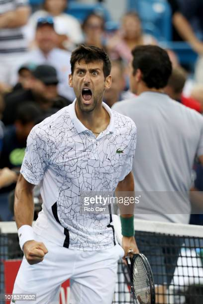 Novak Djokovic of Serbia celebrates after defeating Milos Roanic of Canada during Day 7 of the Western and Southern Open at the Lindner Family Tennis...