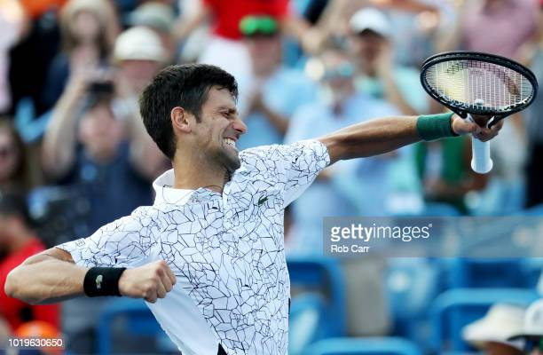 Novak Djokovic of Serbia celebrates after defeating Roger Federer of Switzerland in the mens final during Day 9 of the Western and Southern Open at...
