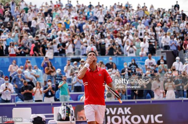 Novak Djokovic of Serbia celebrates after his men's singles Final match against Alex Molcan of Slovakia on Day 7 of the ATP 250 Belgrade Open at...
