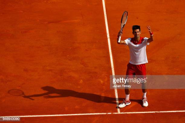 Novak Djokovic of Serbia celebrates after his singles match against Dusan Lajovic of Serbia during day two of ATP Masters Series Monte Carlo Rolex...