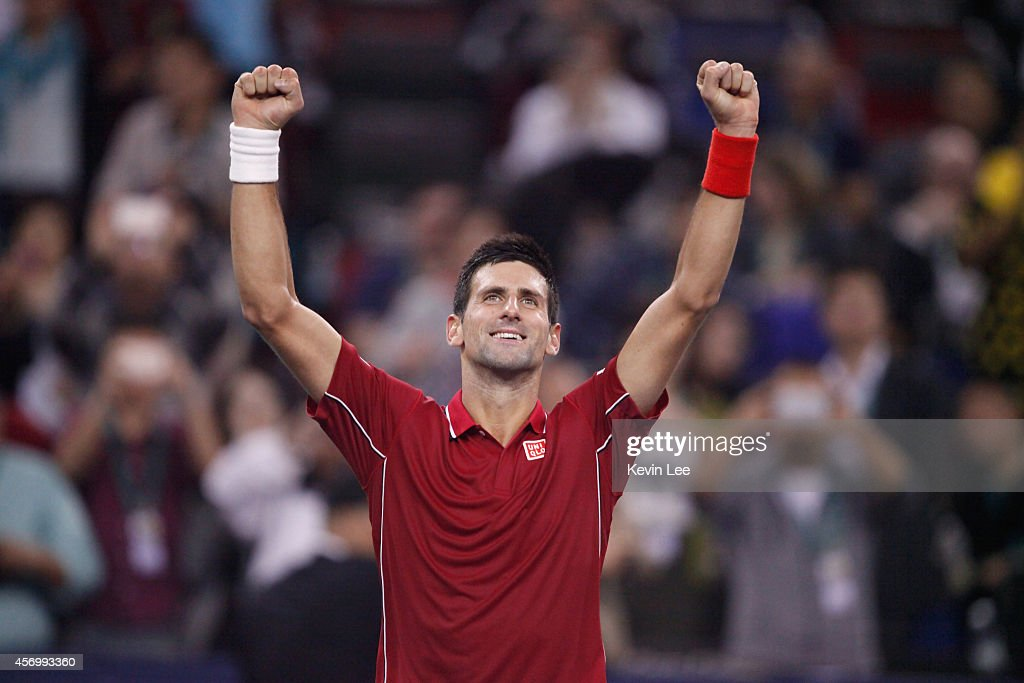 Novak Djokovic of Serbia celebrates after winnig the the Men's Singles Quarterfinal match against David Ferrer of Spain during day 6 of the Shanghai Rolex Masters at Zi Zhong stadium on October 10, 2014 in Shanghai, China.