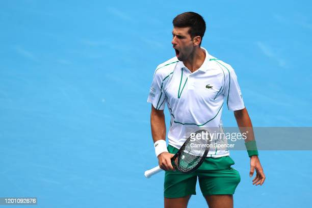 Novak Djokovic of Serbia celebrates after winning a point during his Men's Singles second round match against Tatsuma Ito of Japan on day three of...