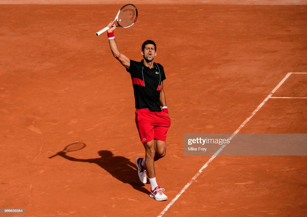 Novak Djokovic of Serbia celebrates after winning a very long third game of the first set against Fernando Verdasco of Spain in the fourth round of the men's singles at Roland Garros on day eight during the French Open on June 3, 2018 in Paris, France.