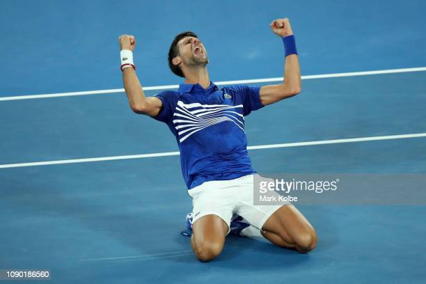 Novak Djokovic of Serbia celebrates after winning championship point in his Men's Singles Final match against Rafael Nadal of Spain during day 14 of...