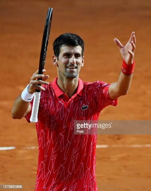 Novak Djokovic of Serbia celebrates after winning his men's final match against Diego Schwartzman of Argentina during day eight of the Internazionali...