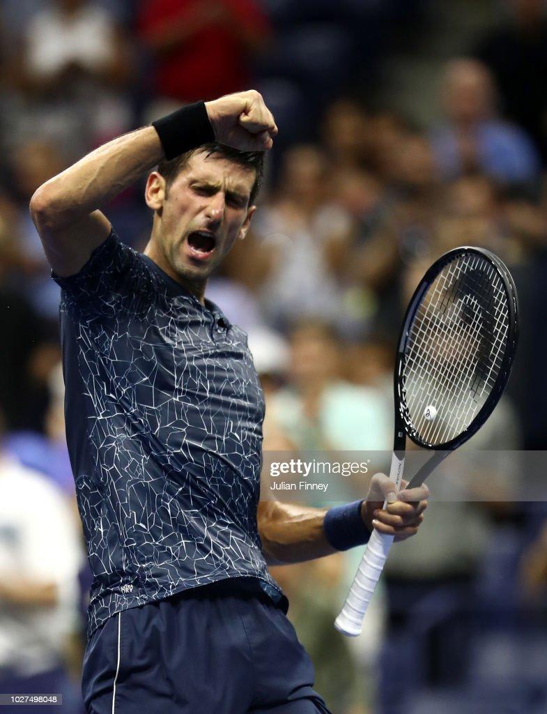 Novak Djokovic of Serbia celebrates after winning his men's singles quarter-final match against John Millman of Australia on Day Ten of the 2018 US Open at the USTA Billie Jean King National Tennis Center on September 5, 2018 in the Flushing neighborhood of the Queens borough of New York City.