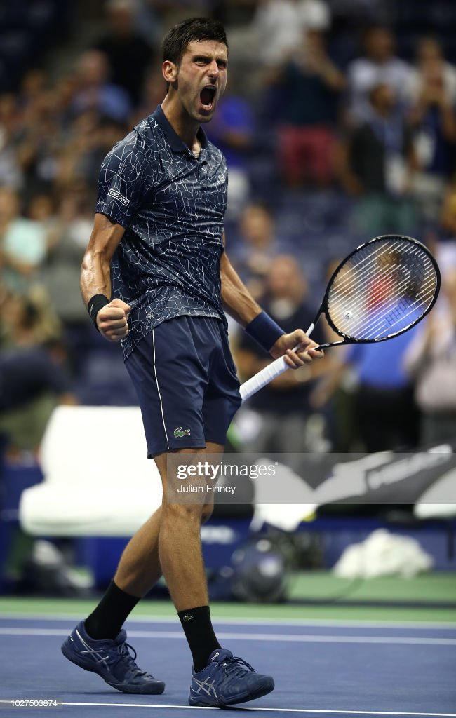 Novak Djokovic of Serbia celebrates after winning his men's singles quarter-final match against John Millman of Australia on Day Ten of the 2018 US Open at the USTA Billie Jean King National Tennis Center on September 5, 2018 in the Flushing neighborhood of the Queens borough of New York City