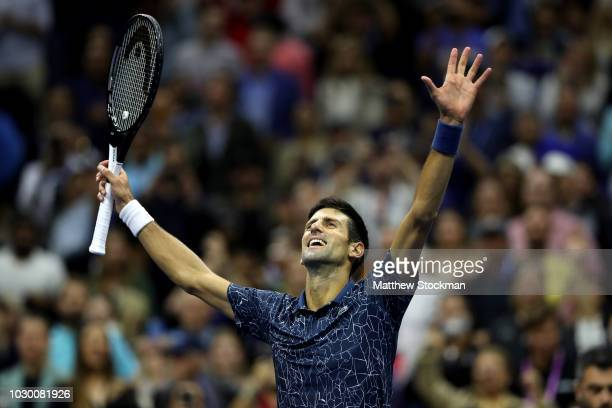 Novak Djokovic of Serbia celebrates after winning his men's Singles finals match against Juan Martin del Potro of Argentina on Day Fourteen of the...