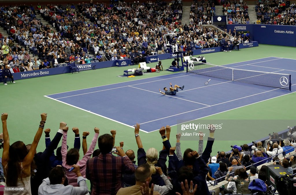 Novak Djokovic of Serbia celebrates after winning his men's Singles finals match against Juan Martin del Potro of Argentina on Day Fourteen of the 2018 US Open at the USTA Billie Jean King National Tennis Center on September 9, 2018 in the Flushing neighborhood of the Queens borough of New York City.