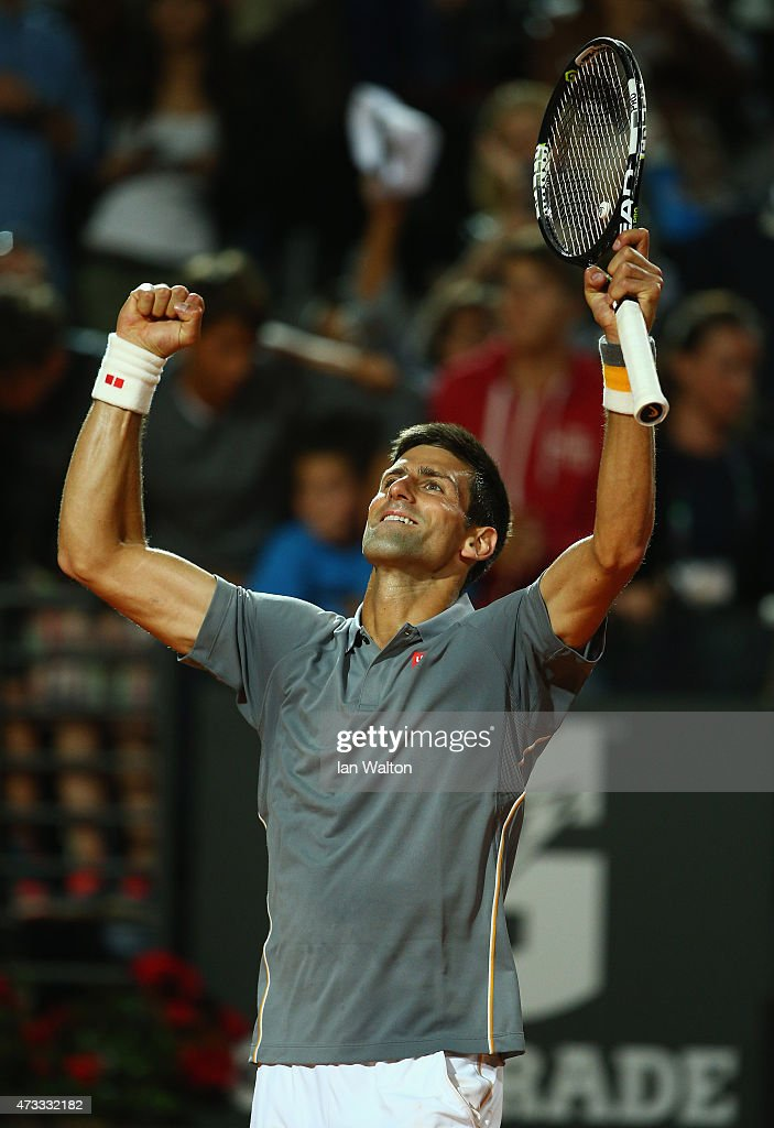 Novak Djokovic of Serbia celebrates after winning his Third Round match against Thomaz Bellucci of Brazil on Day Five of The Internazionali BNL d'Italia 2015 at the Foro Italico on May 14, 2015 in Rome, Italy.