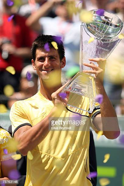 Novak Djokovic of Serbia celebrates after winning match point and defeating Guillermo Canas of Argentina during the men's final at the 2007 Sony...