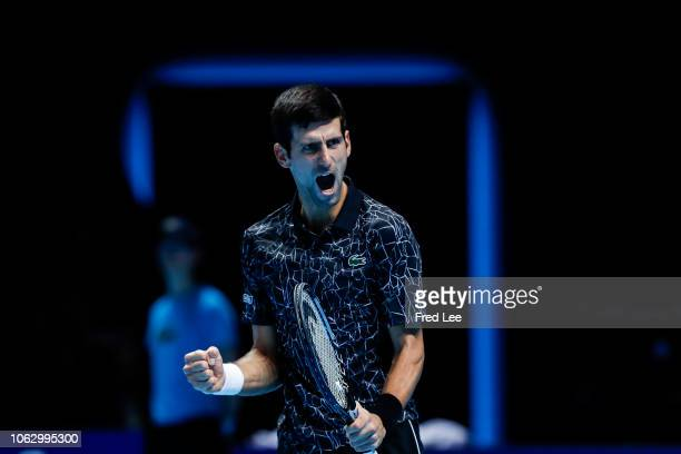 Novak Djokovic of Serbia celebrates after winning match point in his semi finals singles match against Kevin Anderson of South Africa during Day...