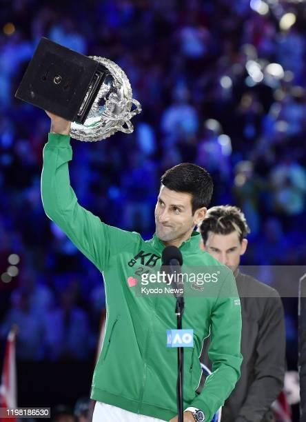 Novak Djokovic of Serbia celebrates after winning the Australian Open tennis tournament in Melbourne on Feb 2 2020