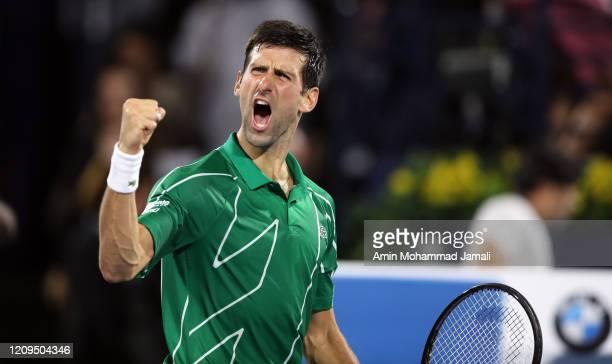 Novak Djokovic of Serbia celebrates after winning the final against Stefanos Tsitsipas of Greece Match Day thirteen of the Dubai Duty Free Tennis at...