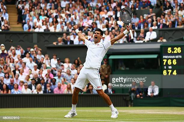 Novak Djokovic of Serbia celebrates after winning the Final Of The Gentlemen's Singles against Roger Federer of Switzerland on day thirteen of the...
