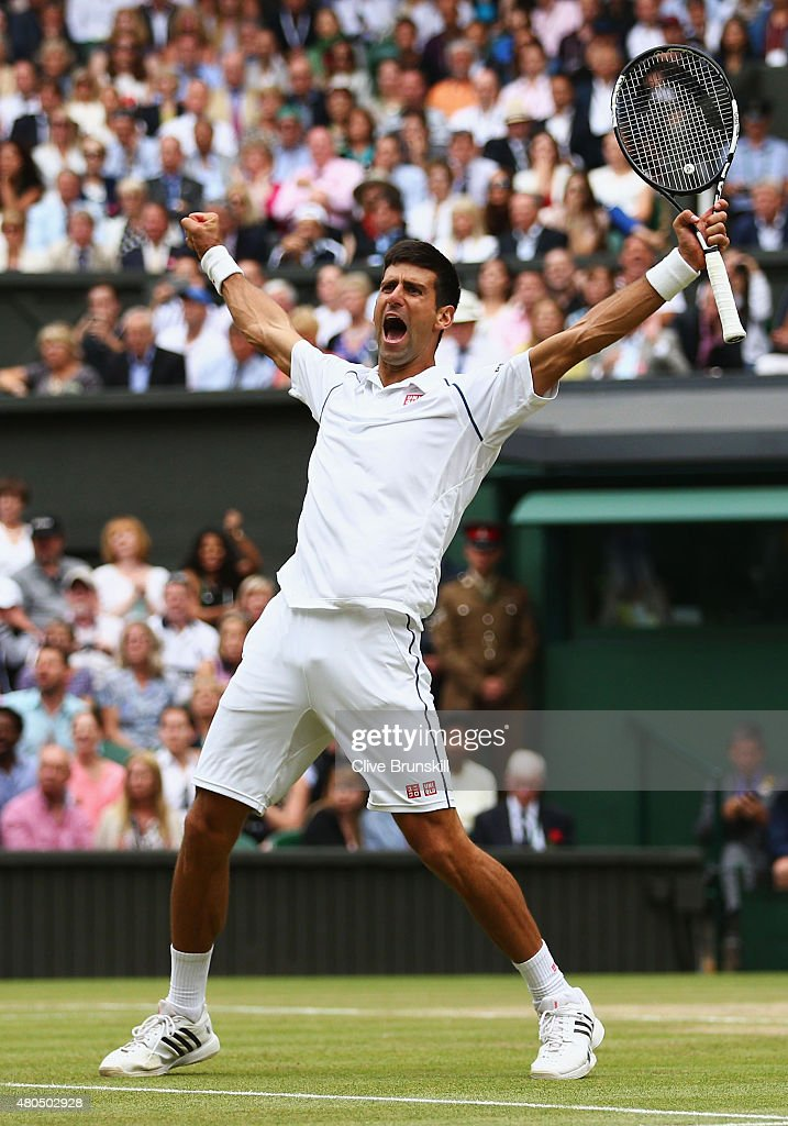 Novak Djokovic of Serbia celebrates after winning the Final Of The Gentlemen's Singles against Roger Federer of Switzerland on day thirteen of the Wimbledon Lawn Tennis Championships at the All England Lawn Tennis and Croquet Club on July 12, 2015 in London, England.
