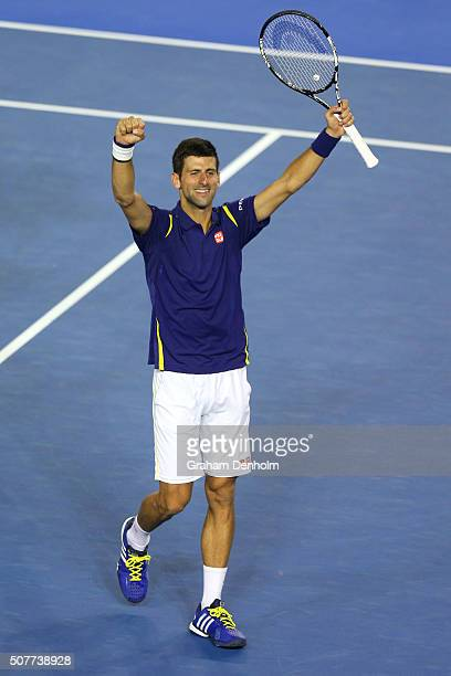 Novak Djokovic of Serbia celebrates after winning the Men's Singles Final over Andy Murray of Great Britain during day 14 of the 2016 Australian Open...