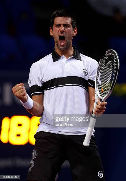 Novak Djokovic of Serbia celebrates at match point after defeating Jarkko Nieminen of Finland during Day Four of the Davidoff Swiss Indoors Tennis at...