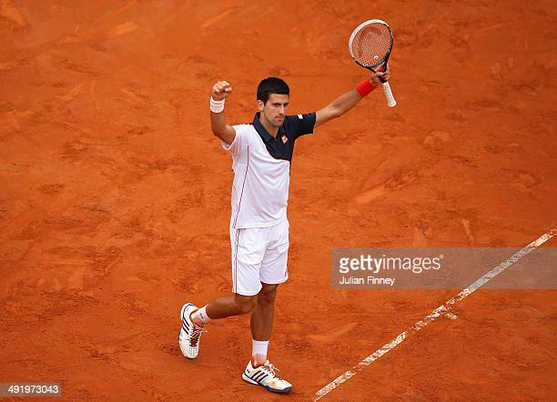Novak Djokovic of Serbia celebrates at match point as he defeated Rafael Nadal of Spain in the final during day eight of the Internazionali BNL...