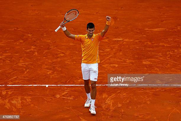 Novak Djokovic of Serbia celebrates at match point to defeat Tomas Berdych of Czech Republic in the final during day eight of the Monte Carlo Rolex...