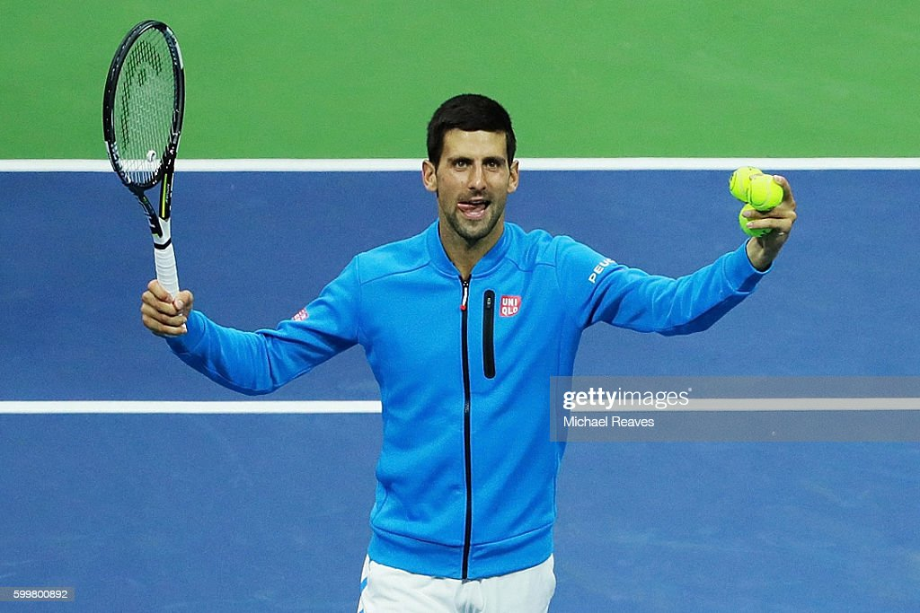 Novak Djokovic of Serbia celebrates defeating Jo-Wilfried Tsonga of France during their Men's Singles Quarterfinals match on Day Nine of the 2016 US Open at the USTA Billie Jean King National Tennis Center on September 6, 2016 in the Flushing neighborhood of the Queens borough of New York City.