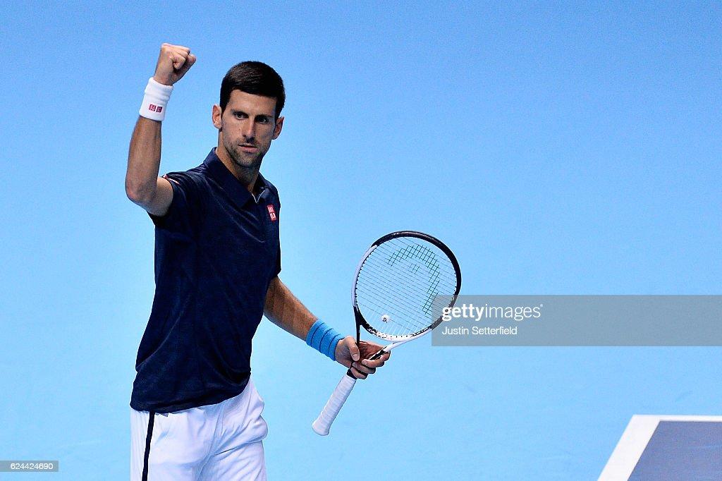Novak Djokovic of Serbia celebrates defeating Kei Nishikori of Japan during their men's singles semi final on day seven of the ATP World Tour Finals at O2 Arena on November 19, 2016 in London, England.