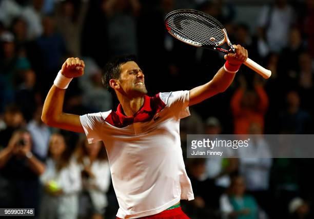 Novak Djokovic of Serbia celebrates defeating Kei Nishikori of Japan in the Quarter Finals during day six of the Internazionali BNL d'Italia 2018...