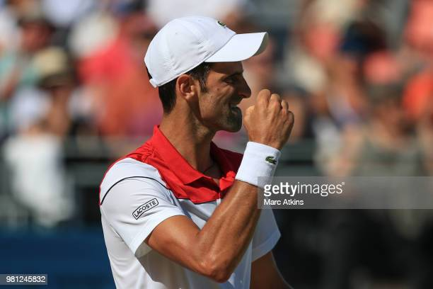 Novak Djokovic of Serbia celebrates during his 1/4 final match on Day 5 of the FeverTree Championships at Queens Club on June 22 2018 in London...